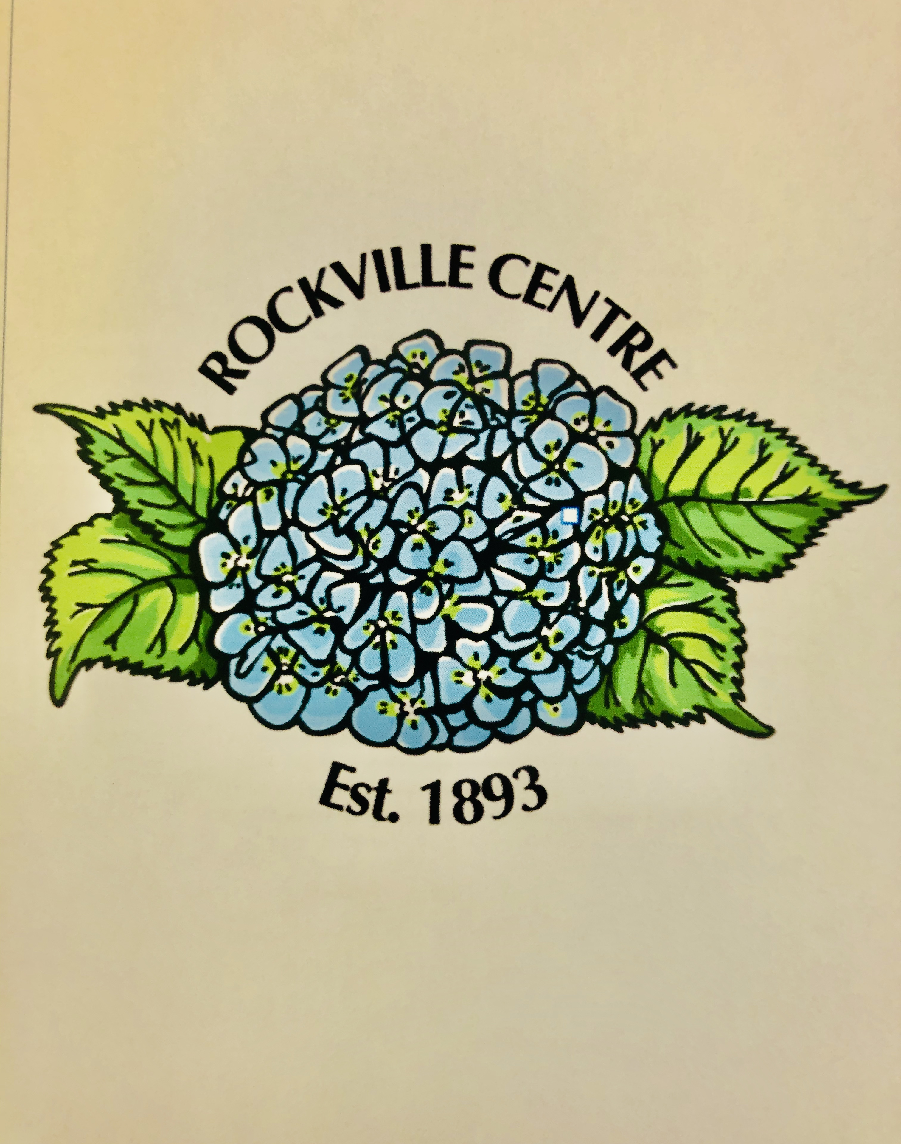 Blue hydrangea with Rockville Centre above and est. 1893 below